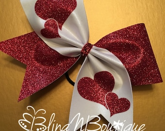 Valentine Cheer Bow - Valentine Hearts - Red and White Cheer Bow