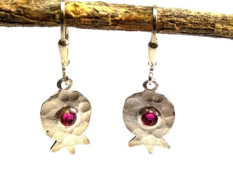 Pomegranate silver earrings, Silver pomegranate earrings, Silver jewelry, Pomegranate jewelry, Israeli artisan, Bat mitzva  present, Gift