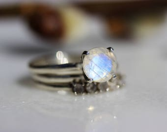 SAMPLE SALE Artemis Three Ring Moonstone Bridal Set in Sterling, Ready to Ship in Size 5.75