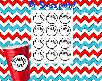 12 count Dr Seuss thing 1 thing 2 inspired party cup labels