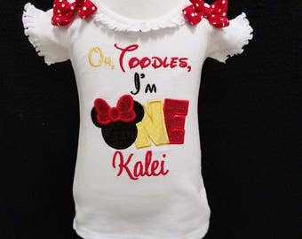 Minnie Mouse 1st birthday~ Oh Toodles I'm One ~  Disney vacation shirt ~ Minnie Mouse First Birthday shirt!!