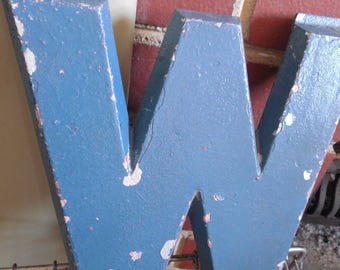 "Industrial 8"" Metal Theater Marquee Letter W - Vintage Cast Aluminum Adler Sign"