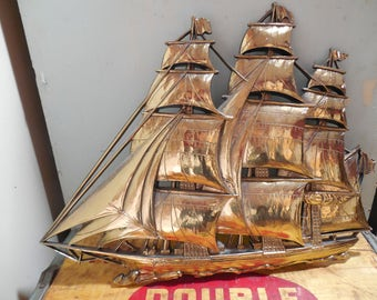 Vintage Syroco Tall Ship Wall Plaque...Gold Clipper Ship....Pirate