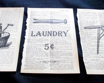 Set of 3 Dictionary Art Prints Vintage Laundry Room Sign Book Page Art, Wringer Washer Washing Machine, Wood Ironing Board & Clothespin