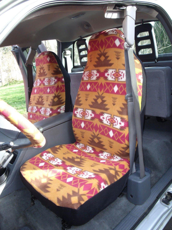 1 Set Of Brown Navajo Print Seat Covers And Steering Wheel