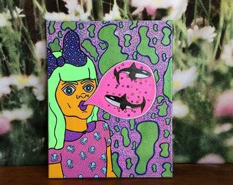 Whale Gum Painting Original Art
