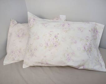 Vintage Shabby Chic Lavender Purple Roses Floral on Cream Standard Size Pillow Case made from Mary Rose  Fabric - Sold by 1