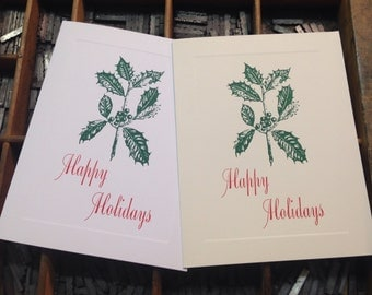 """Letterpress Christmas Cards """"Happy Holidays"""" - Set of 10 cards with matching envelopes"""