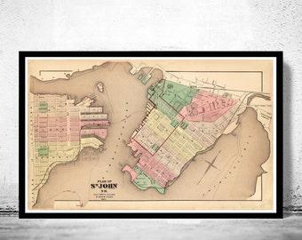Old Map of Saint John NB Canada 1875