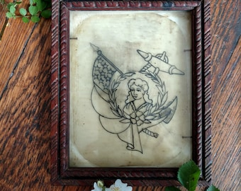 Vintage 40s Anchor Tattoo Flash Acetate, 1940s Nautical Military Tattoo Flash