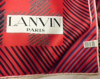 French vintage Lanvin chiffon silk scarf square hand Rolled Noble woman red blue signe Paris Lanvin blue red white France Paris Chic No Worn