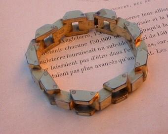 French vintage Signed large art deco tank chain bracelet gold bracelet articulated bracelet solid bronze heavy bracelet