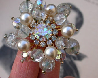 French crystal boheme  vintage art deco Rainbow diamond like crystal faceted  teardrop beads white pearl flowerbrooch  bronze gold gilt