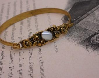 vintage art nouveau style gold gilt bronze  core  large floral  bangle bracelet Mother of pearl rose flower handmade gold bracelet