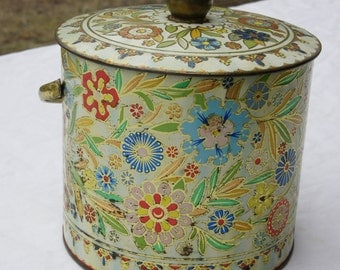 Daher Made in England Floral Embossed Biscuit TIn with Lid and Handle Ivory Pink Blue Green Yellow