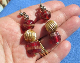 Vintage Red & Gold Colored Beaded Dangling Pierced Earrings