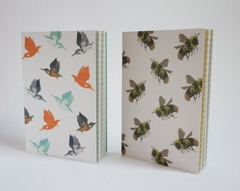 Pack of 2 A6 notebooks - Bumblebee & Kingfisher