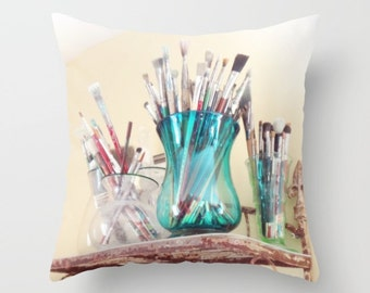 Artist Pillow, Art Pillow Cover, Artist Throw Pillow, Art Lover, Artist Gift, Paintbrushes, Painters Gift, Artist Pillow Cover, Art Student