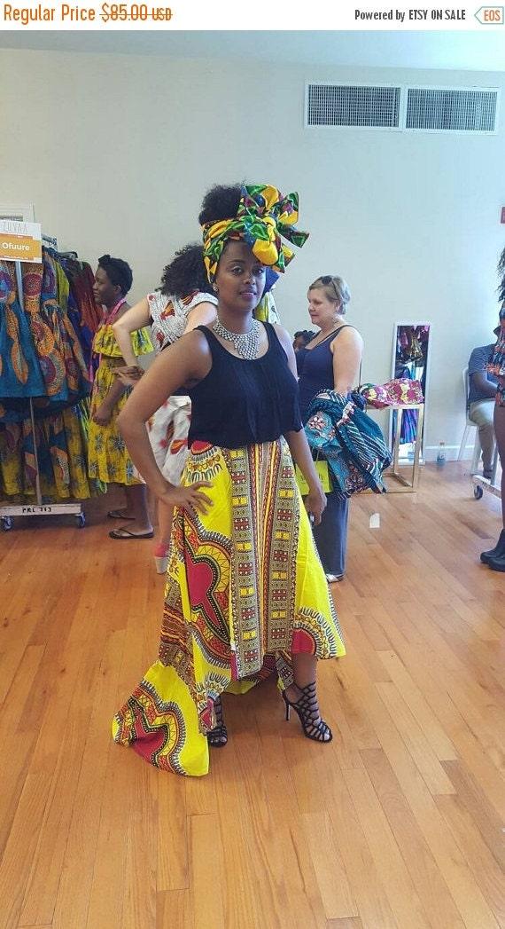 BLACK HISTORY SALE Yellow Dashiki High- Low Skirt.
