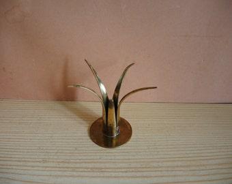 Sweden Vintage Handmaid Solid Brass Candle Holder in Lily shape / old brass housewares / Rustic Kitchen Decor / Candlestick / cottage decor