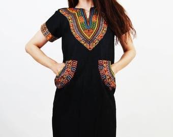Dashiki Dress / African Dress / Ankara Dress / Tribal Dress / Cotton Dress / Folk Dress / Dress with Pockets / Medium Dress