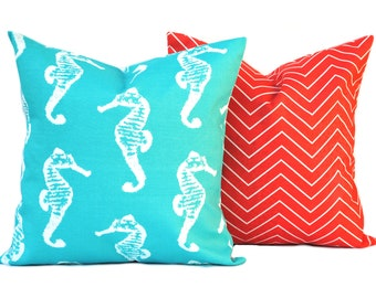 2 outdoor pillow covers, 1 seahorse and 1 zig zag pillow, decorative throw pillow, Nautical Pillow, accent pillow, Blue Throw Pillow
