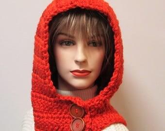 Pumpkin Orange Hoodie Scarf, Crochet Hat, Orange Chunky Scarf, Warm Winter Scarf, Orange Neckwarmer, Fall Womans Scarf, Caroline B6-116