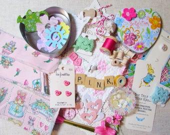 LOT Hand Frayed Ribbon Bunny Rabbit Inspiration Kit - PINK DIY Bundle Buttons - Roses Brighton Tin - Bobbins Hearts Paper Craft -  Quilt 706