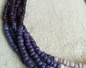 Multi Stranded Purple Ombre Glass Seed Bead Necklace