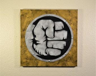 Steampunk Wall Art, Industrial Wall Art, Metal Look Canvas, Mixed Media Wall Art, 3D Wall Art, 3D Canvas, Steampunk Hulk Industrial Hulk