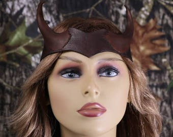 Leather viking horned head piece
