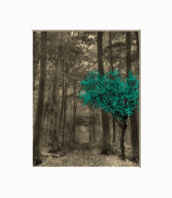 Teal Brown Wall Pictures Teal Decor Forest Trees Teal Brown