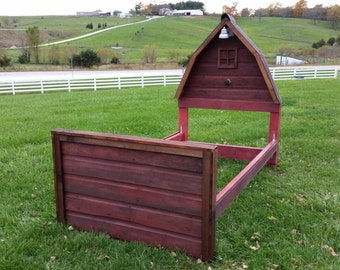 """Rustic Authentic Barn Wood Bed - Red """"Barn Bed"""" - TWIN Size Headboard, Footboard, Side Rails & 1 Nightstand  - Other Colors available"""