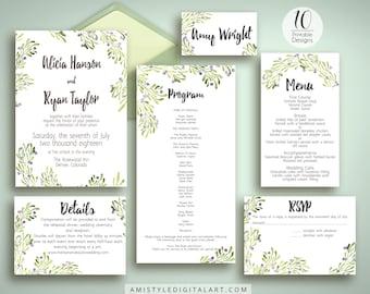 DIY Wedding Template, Invitation Suite, Olive