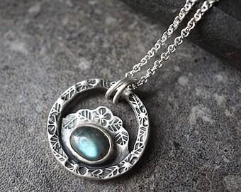 Labradorite Sterling Necklace , Silver Flower Pendant , Botanical Medallion Necklace , Labradorite Jewelry