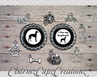 10pc Greyhound Dog Charm Set/Lot/Collection with Bottle Caps / Jewelry, Scrapbooking, Crafts /Jewelry and/or Crafting Kit / Choose Images