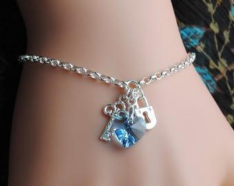 Crystal Heart Bracelet, Personalized Bracelet, Initial Bracelet, Birthstone Jewelry, Key to My Heart, Lock and Key, Sterling Silver HB2