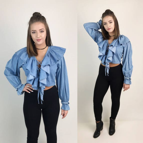 Vintage Denim Ruffel Long Sleeve Crop Top Medium - Lace Up Front Denim Long Sleeve Sexy Bohemian Crop Top - Puffy Ruffle Shirt Cotton Denim
