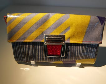 Oilcloth wallet blue-red