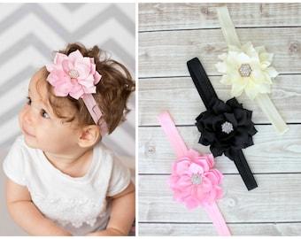 Flower Headbands, Baby Headband, Baby Girl Headband, Pink Headband, Pink Hair Bow, Pink Newborn Headband, Black Headband