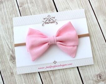 Pink Hair Bow, Baby Headband, Baby Girl Headband, Newborn Headband, Linen Hair Bow, Light Pink Headband, Nylon Headband, Pink Headband