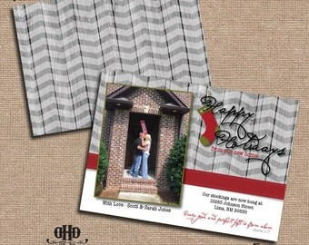 CUSTOM Christmas/Holiday Card - New Home for the Holidays Gray Planks and Ribbon