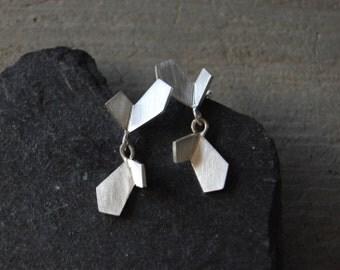 Sterling silver dangle earrings, silver drop earrings, geometric silver earrings, butterfly silver dangle earrings