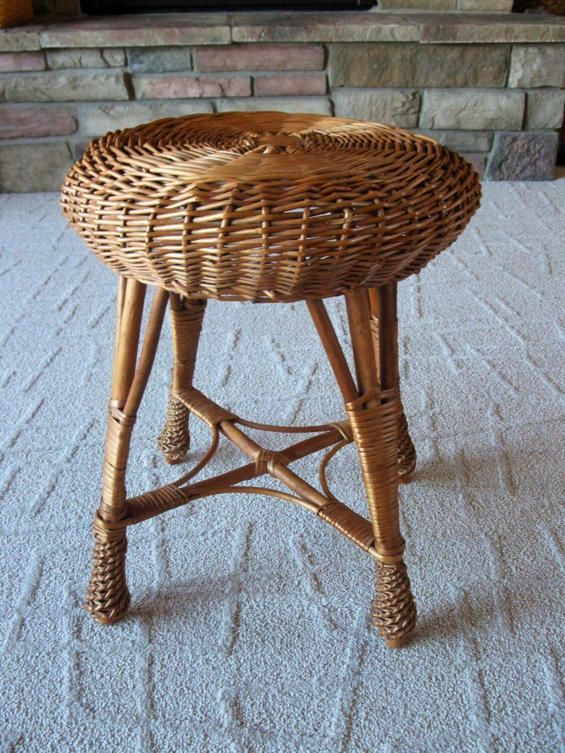 Vintage Wicker Bamboo Stool Plant Stand End Table Rattan