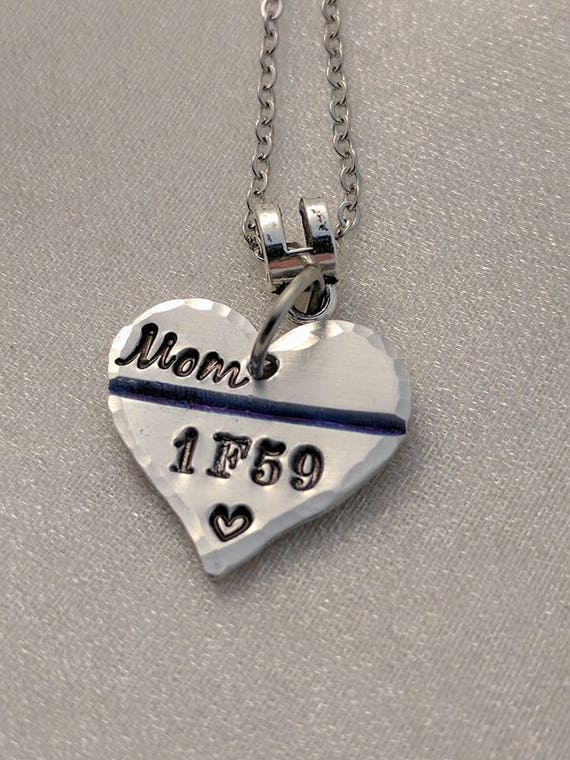 Police Wife Gift - Thin Blue Line Necklace - Personalized Police Necklace - Unit Number Necklace - Badge Number Necklace - Law Enforcement