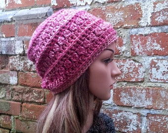 Slouch beanie , slouch winter hat, Women's beanie hat .Pink hat .  Festival  beanie