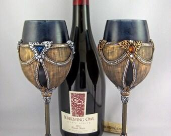 Renaissance Wine Goblets, Renaissance Goblets, Medieval Goblet Set, Wedding Toasting Set, Renaissance Wedding Goblets