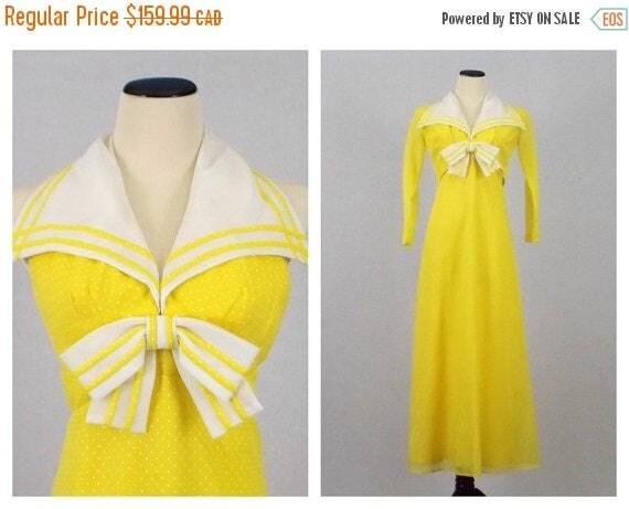 SALE Yellow Polka Dot Sailor Maxi Dress and Shrug Jacket - Size ...