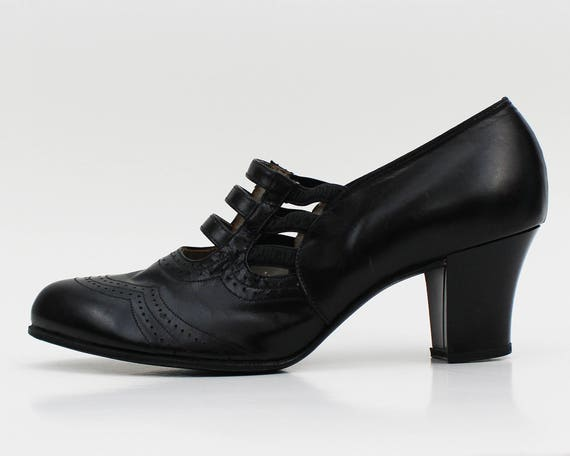 40s Black Leather High Heel Oxford Shoes - Vintage 1940s Size 5.5 White Cross Heels