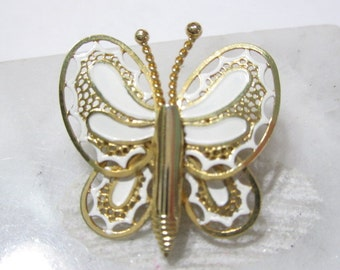 Small White Enamel Butterfly Pin Figural Insect